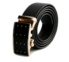 Black Gold Buckle Belt Men's Real Leather Fashion Casual Jeans Trousers Quality
