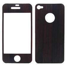 Front & Back Purpleheart Wood Design Protective Skins For Apple iPhone 4 & 4S