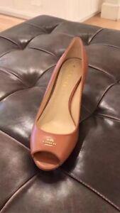 COACH Leather Peep Toe Wedge Sandal Shoes Heels Sz 6/6.5/7