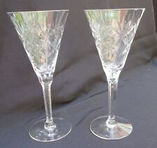 Fan Cut Lead Crystal Continental Champagne Toasting Goblet Glass   Set of 2