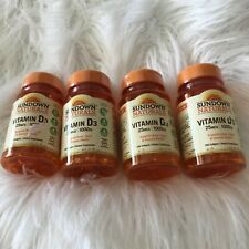 4 New SUNDOWN NATURALS Vitamin D3 25mcg 1000IU, 200 Softgels EXP7/2021