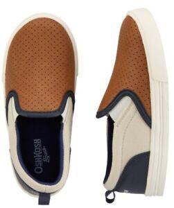 NewOshkosh Colorblock Slip-On Shoes size: 12 toddler boys tan carmel navy
