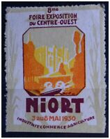 TIMBRE EXPOSITION FOIRE NIORT 1930 ART DECO CINDERELLA POSTER STAMP FRANCE