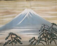 Vintage Japanese Mens Smooth Silk Mt. Fuji Landscape Liner Haori FREE SHIPPING