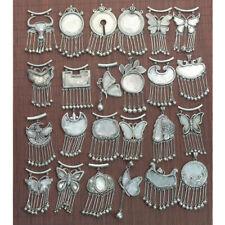 Classical handmade Miao silver bell tassels DIY embedded necklace pendant 1piece