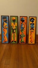 Black Americana Oil/Acrylic Paintings Set Of 4 Awesome Eye Appeal Circa 1960/70'