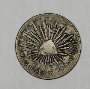 1868/57 Go YF Mexico Silver 2 Reales Overdate KM # 374.8