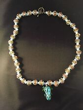 """Beaded necklace with blue frog 19"""" hand made new"""