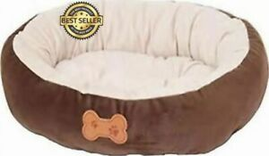 Pet Bed Oval with Bone Applique Dog Cat Mat