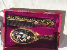 Cloisonne' Mirror And Comb