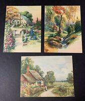 "Vtg GP Litho Art Prints Calendar Top Country Cottage Scenery  8""x 6"" Ephemera"