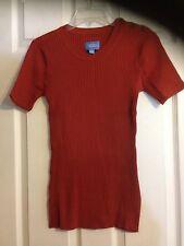 Simply Vera by Vera Wang Rusty Ribbed Knit Short Sleeve Top ~Sz.M ~ Cotton Blend