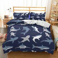 3D Blue Cartoon Shark Bedding Doona Duvet Cover PillowCase Quilt Cover
