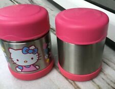 Two Thermos Funtainers 10Oz Food Jars Hello Kitty & Pink Top Coffee Soup Bottle