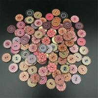 100Pcs Flower Picture Wood Button 2 Holes Mixed Color Apparel Sewing DIY Craft