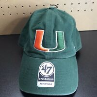 '47 Brand Miami Hurricanes Green Clean Up Adjustable Strapback Hat Cap NEW