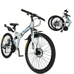 "Xspec 26"" 21 Speed Folding Mountain Bike Bicycle Trail Commuter, White"