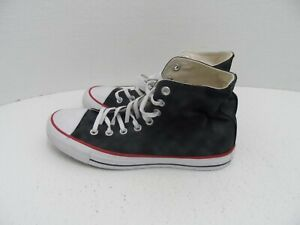 Converse Chuck Taylor Womens High Top Black/Red Sateen Tennis Shoes-Size 9L & 8R