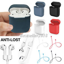 For Apple AirPods Charging Silicone Cover Case + Earphone Anti Lost Strap Rope
