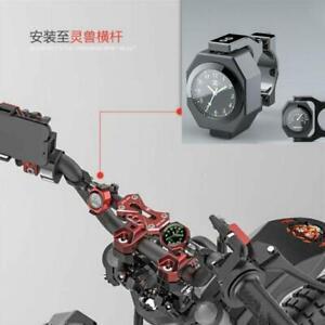 2In1 Motorcycle Modified Luminous Clock Time+Temperature Gauge Waterproof Alloy