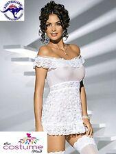 STUNNING SEXY WHITE Bridal Lace Nighty Babydoll Chemise Size 8-14 AU