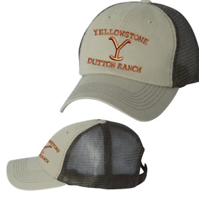 Yellowstone Logo Dutton Ranch Montana Kevin Costner Mesh-Back Cap Khaki/ Brown
