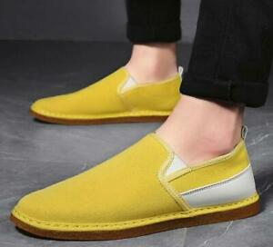 Mens Canvas Pumps Slip on Comfy Breathable Loafers Shoes Driving Moccasins Flats