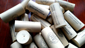 80 SYNTHETIC Printed Used Wine Corks Lots Crafts Projects Favors Art From CA