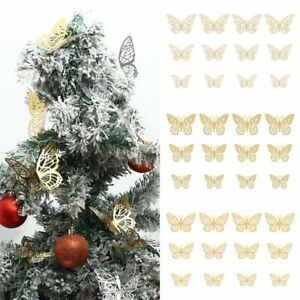 Xmas Butterfly Baubles Wedding Ornament Party Decor Christmas Tree Decorations