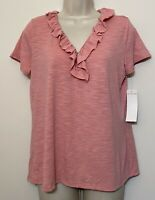 NWT Notations Medium Shirt Pink Short Sleeve Ruffle V-Neck Stretch Top