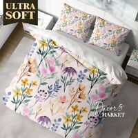 Watercolor Wild Flower Floral Patterns Quilt Cover Sets Zipper And Pillow Cover