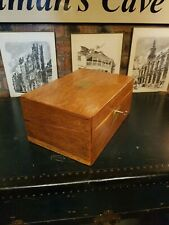 More details for antique solid oak writing slope with secret drawers &key