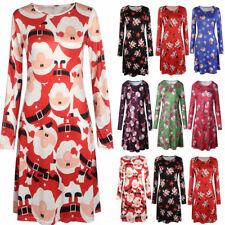 UK Womens Christmas Jumper Dress Santa Snowman Long Sleeves Ladies Mini 6-18
