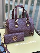 NWT, MICHAEL KORS GRAYSON MONOGRAM MEDIUM SATCHEL/CROSSBODY HANDBAG+WALLET $600