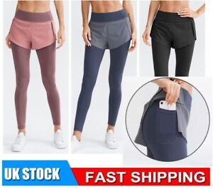 2in1 Women High Waist Yoga Shorts Pants Pockets Gym Fitness Leggings Running UK