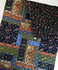 Pre-Quilted Fabric Remnant Patchwork Paisley French Floral 27 x 32