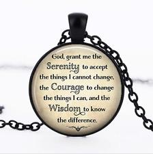 Serenity Prayer Black Glass Cabochon Necklace chain Pendant Wholesale