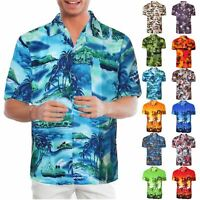 Mens Floral Shirt Rockabilly Surf Party Beach Holiday Stag Dance Hawaiian Print