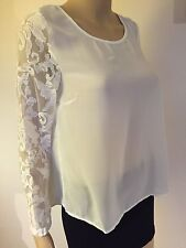 New On 12th ivory white long sleeve top blouse polyester cotton S