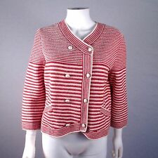 CHANEL 2014 PEARL JACKET CARDIGAN - US 10 / 12 - 44 - STRIPED RED WHITE COAT CC