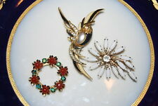 Or Brooches As Per Pictures # M-018 Wonderful Vintage Set Of Three Assorted Pins