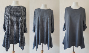 NEW LADIES BLACK WHITE CHECK DOG TOOTH TOP TUNIC PLUS SIZE 14-32 MADE IN UK