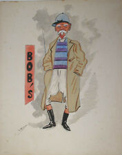 c1900 FIELD MARSHAL BOBS ROBERTS BRITISH SOLDIER PORTRAIT CARICATURE WATERCOLOUR