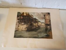 Vintage Possibly Antique Town Seascape Signed Colored Print