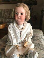 "VERY SWEET Antique German CM Bergmann Bisque Head Doll 23"""