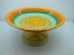 Excellent Example of a 1930's Art Deco Orange & Green Pottery Tazza by Shelley