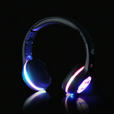 Bluetooth Wireless Headphone Headset Wired Black LED Flashing HiFi Sound+MIC/AUX