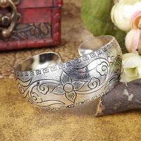 Women Flower Tibetan Silver Carved Cuff bangles Bohemian Vintage Bracelets 1pcs