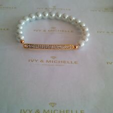 Glass Pearl White Beaded Stretch Bracelet w/ Gold Tone Row Connector Link