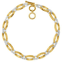 Karine Sultan Two Tone Short Chain Necklace 24k Matte Gold-plated, Toggle Clasp
